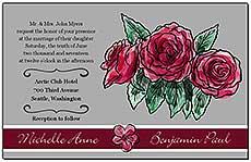 Floral Sweet Botanical Rose Wedding Invitations