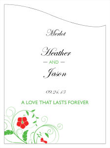 Flowers Wine Wedding Labels