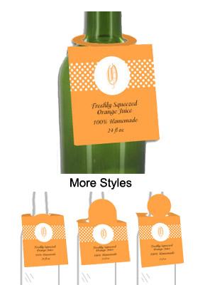 Fresh Squeezed Orange Juice Bottle Tags