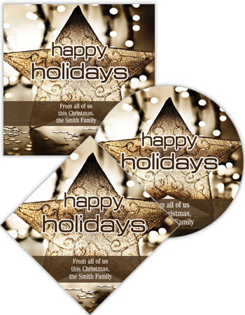 Gold Star Christmas Labels