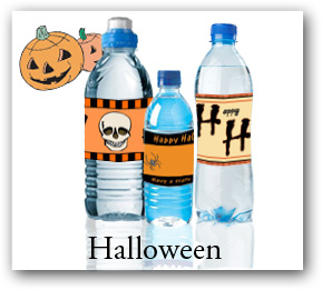 Halloween water bottle labels, party water bottle pagels