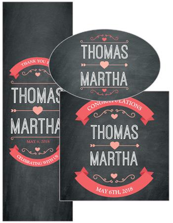 Hearts of Love Chalkboard Style Wedding Labels