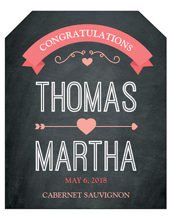 Hearts of Love Chalkboard Style Wine Wedding Labels