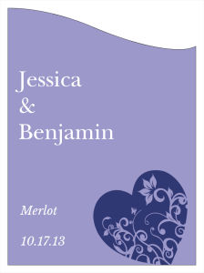 Hearts of Love Wine Wedding Labels