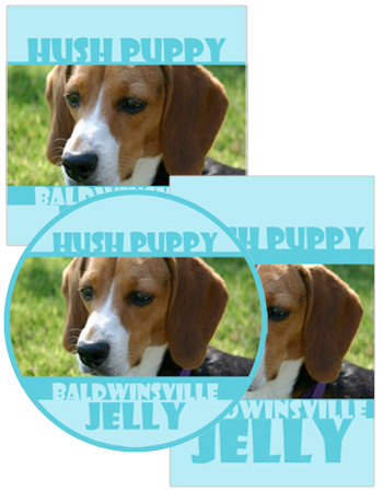 Hush puppy food and craft labels