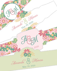 Infinity Floral Wreath Wedding Cigar Bands