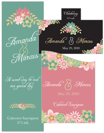 Infinity Floral Wreath Wedding Labels