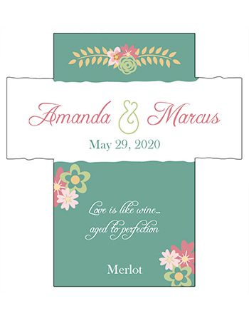 Infinity Floral Wreath Wine Wedding Labels