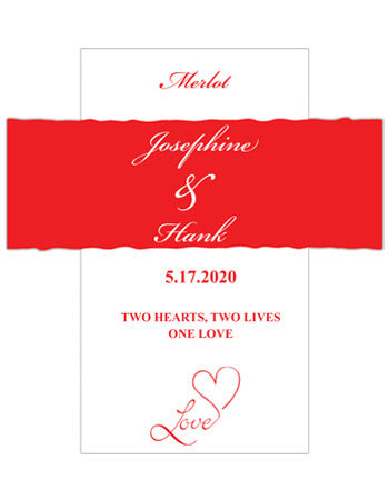 Love Swirly Wine Wedding Labels