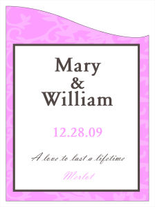 Magnolia Wine Wedding Labels