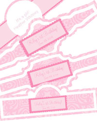 Powder Pink Baby Cigar Band Labels