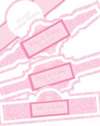Powder Pink Baby Cigar Band Labels