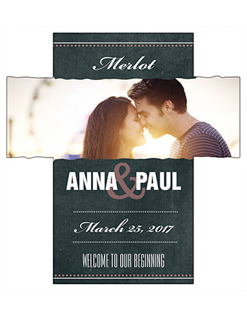 Romantic Photo Chalkboard Wine Wedding Labels