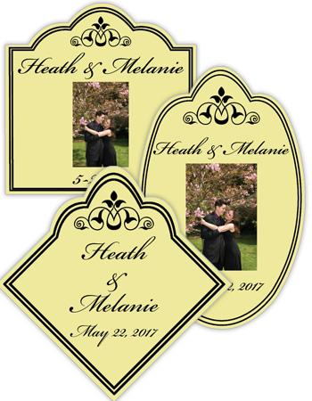 Elegant Wine Wedding Photo Labels