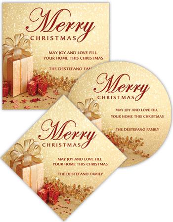 Small Present Ribbon Christmas Labels