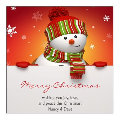 Snowman Top Christmas Hang Tags