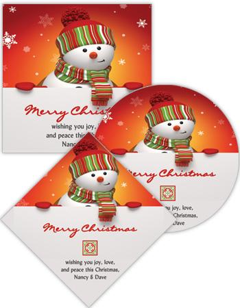 Snowman Top Christmas Labels
