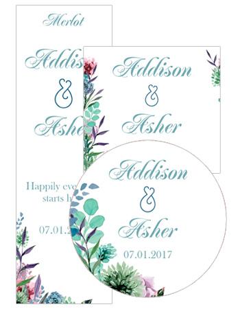 Spring Meadow Flowers Wedding Labels