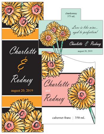 Summer Floral Trio Wedding Labels