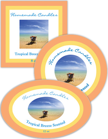Tropical Breeze Candle Labels