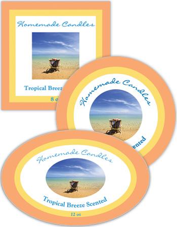 Tropical Breeze Candle Labels
