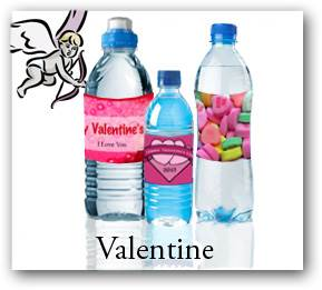 Valentine Day party water bottle labels