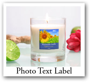bath and body products labels, labels with photo and text