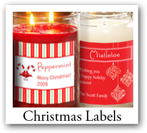 christmas candle labels, Personalized Christmas Candle Stickers