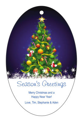 Decorated Christmas Tree Hang Tags