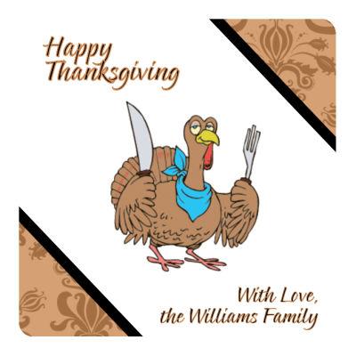 Diagonal Banner Thanksgiving Coasters