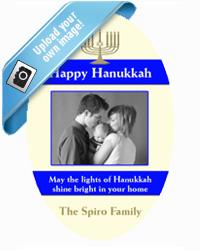 Hanukkah Menorah Stripe Favor Tags