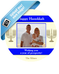 Hanukkah Menorah Stripe Labels