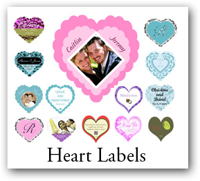 heart labels, custom heart labels, heart shape labels, heart stickers