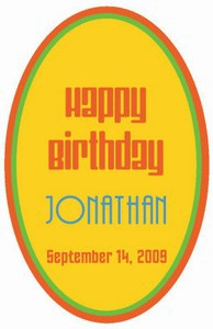 Hippie Birthday Labels