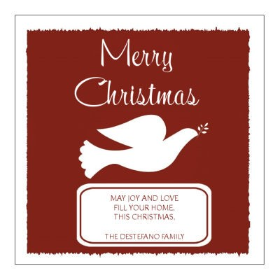Red Dove Christmas Labels