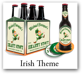 st Patrick's day labels, coaster and beer bottle carrier