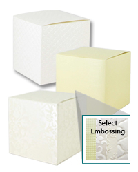 "Italian Embossed Papers Tuck Big Top Boxes 4"" x 4"" x 4"""