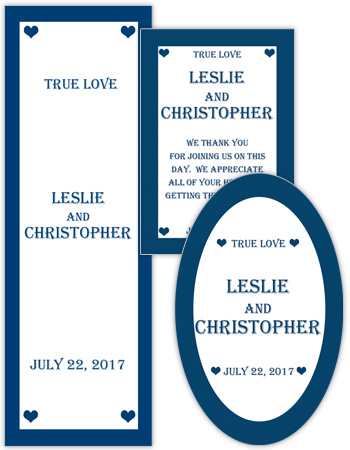 Mini Hearts Wedding Labels