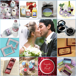 Custom wedding favors ideas, gift boxes, favor stickers, cigar bands, thank you cards, place cards