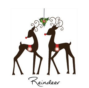 Christmas Reindeer and Rudolph Business Holiday Cards