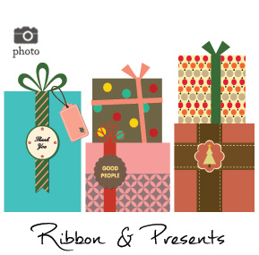 Christmas Presents Ribbons and Bows Family Cards