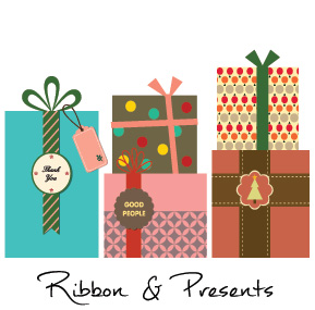 Christmas Presents Ribbons and Bows Business Holiday Cards