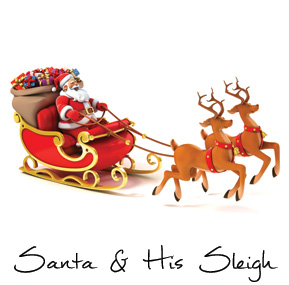 Christmas Santa Claus and Sleigh Business Holiday Cards