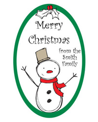 Snowman Holiday Labels