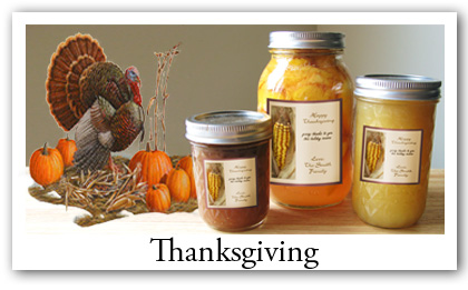 Thanksgiving labels, invitations and favor gifts