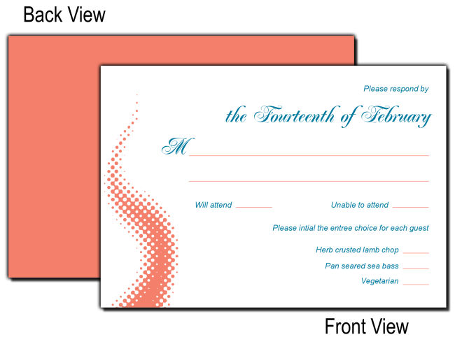 Customizable Dinner Choice Rsvp Cards With Envelopes For