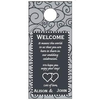 Black and White Swirl Pattern Wedding Door Hanger 4x9