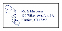 Believe Swirly Address Wedding Labels