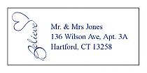 Believe Swirly Address Wedding Labels