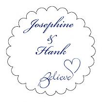 Believe Swirly Scalloped Circle Wedding Labels